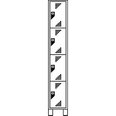 EUROKRAFT Schließfachschrank, Fachhöhe 418 mm - HxBxT 1800 x 300 x 500 mm, 4 Abteile