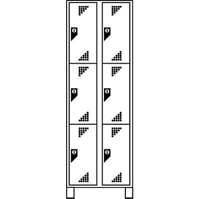 EUROKRAFT Schließfachschrank, Fachhöhe 558 mm - HxBxT 1800 x 800 x 500 mm, 6 Abteile