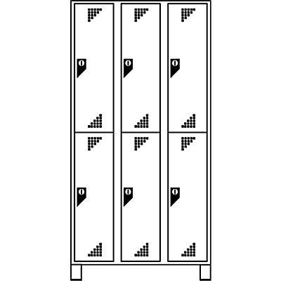 EUROKRAFT Garderobenschrank, Abteilhöhe 850 mm - HxBxT 1800 x 1200 x 500 mm, 6 Abteile