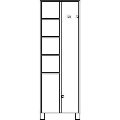 EUROKRAFT Mehrzweckschrank, links 4 Fachböden, rechts 4 Klemmhalter - HxBxT 1800 x 800 x 500 mm