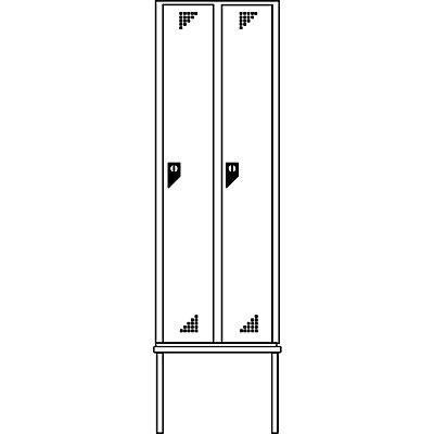 EUROKRAFT Garderobenschrank mit untergebauter Sitzbank - 2 Abteile, Breite 600 mm