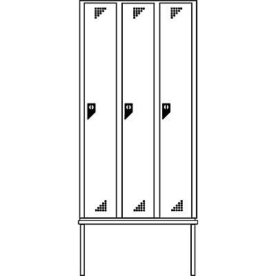 EUROKRAFT Garderobenschrank mit untergebauter Sitzbank - 3 Abteile, Breite 900 mm