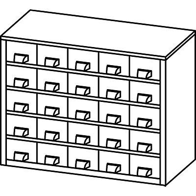 Schubladenmagazin, Schubladen glasklar - HxBxT 238 x 306 x 155 mm, Gehäuse-Traglast 20 kg