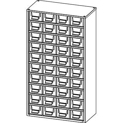 Schubladenmagazin, Schubladen glasklar - HxBxT 630 x 366 x 173 mm, Gehäuse-Traglast 60 kg