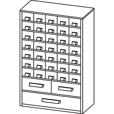 Schubladenmagazin, Schubladen glasklar - HxBxT 460 x 306 x 155 mm, Gehäuse-Traglast 50 kg
