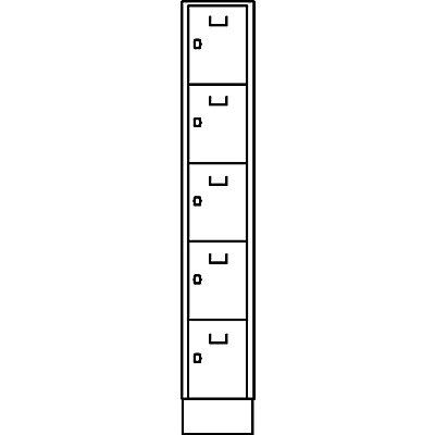 Wolf Schließfachwürfel - 5 Fächer, einbrennlackiert