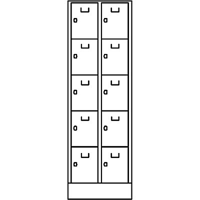 Wolf Schließfach-Garderoben-System - 10 Fächer, Fachbreite 300 mm - lichtgrau / lichtgrau