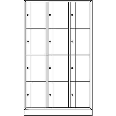 CP Schließfachschrank - HxBxT 1950 x 1150 x 540 mm, 12 Fächer - lichtgrau RAL 7035 / lichtgrau RAL 7035