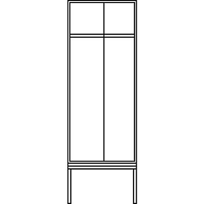 CP Garderobenschrank mit untergebauter Sitzbank - Abteilbreite 400 mm, HxBxT 2090 x 800 x 815 mm