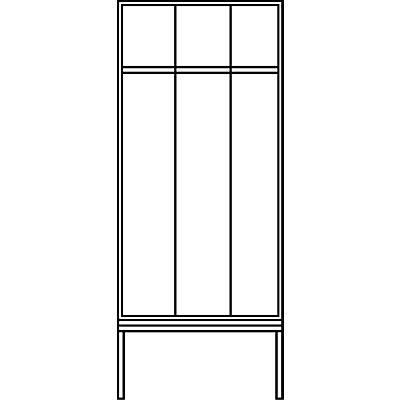 CP Garderobenschrank mit untergebauter Sitzbank - Abteilbreite 300 mm, HxBxT 2090 x 900 x 815 mm