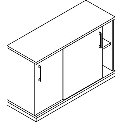 THEA Schiebetürenschrank - 1 Fachboden, 2 Ordnerhöhen