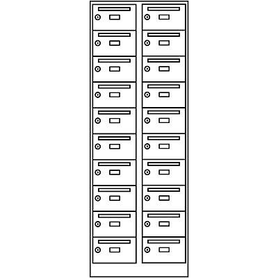 Wolf Postverteilerschrank - 20 Fächer, abschließbar