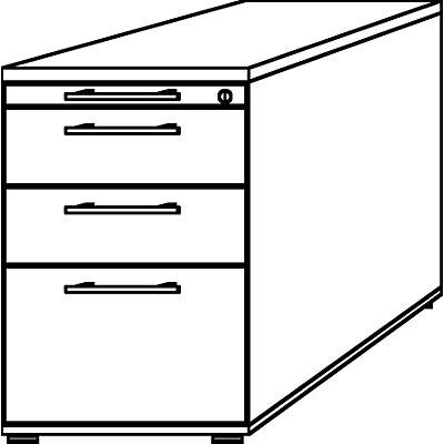 HAMMERBACHER Standcontainer - 1 Utensilienschub, 2 Materialschübe, 1 Hängeregistratur