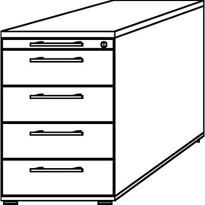 HAMMERBACHER Standcontainer - 1 Utensilienschub, 4 Materialschübe