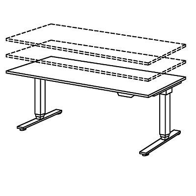UPLINER-2.0 Bureau sur pieds - piétement en T, largeur 1800 mm