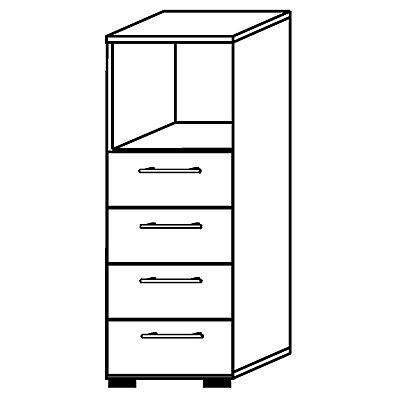 HAMMERBACHER RENATUS Armoire et rayonnage combinés - 1 compartiment ouvert, 4 tiroirs