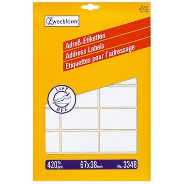 Avery Zweckform Adressetikett 3348 67x38mm weiß 420 St./Pack.