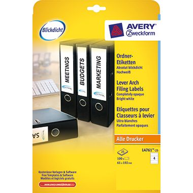 Avery Zweckform Ordneretikett L4761-25 61x192mm ws 100 St./Pack.