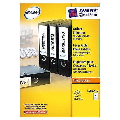 Avery Zweckform Ordneretikett L4760-100 38x192mm ws 700 St./Pack.