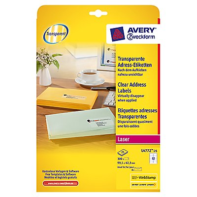 Avery Zweckform Adressetikett L4772-25 transparent 300 St./Pack.
