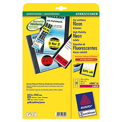 Avery Zweckform Etikett  63,5x29,6mm  675 St./Pack.
