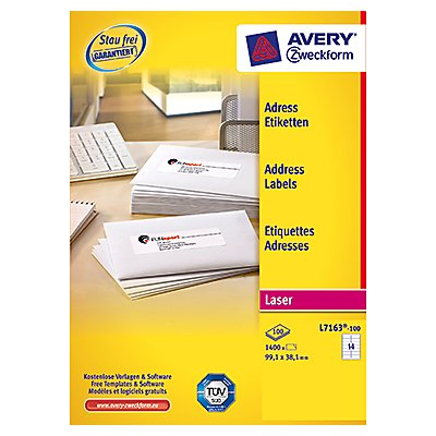 Avery Zweckform Adressetikett QuickPEEL L7163-100 1.400 St./Pack.