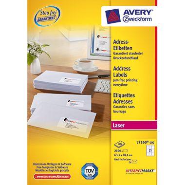 Avery Zweckform Adressetikett L7160-100 weiß 2.100 St./Pack.