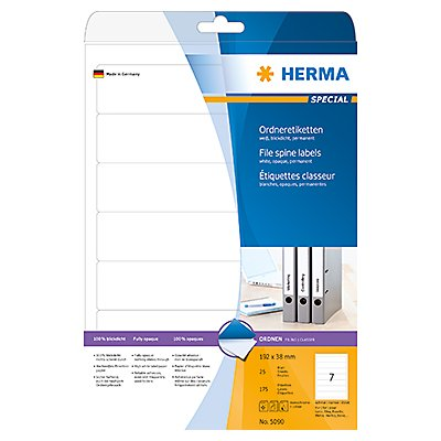 HERMA Ordneretikett 5090 schmal/kurz sk weiß 175 St./Pack.