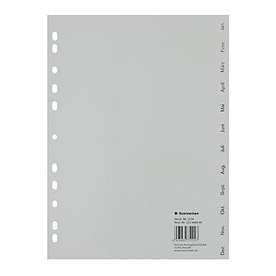 Soennecken Register 1533 DIN A4 Dez.-Jan. volle Höhe PP grau