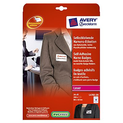 Avery Zweckform Namensetikett L4785-20 80x50mm weiß 200 St./Pack.