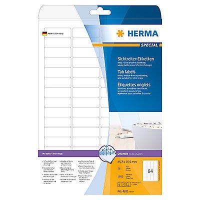 HERMA Sichtreiteretikett 4201 45,7x16,9mm sk weiß 1.600 St./Pack.