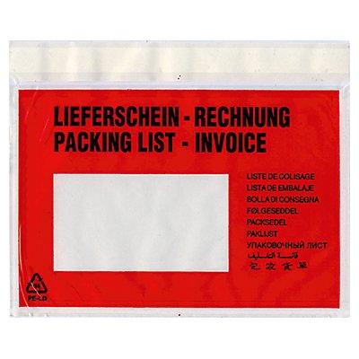 Dokumententasche Lieferschein- Rechnung C5 mF sk rt 250 St./Pack.