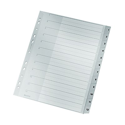 Leitz Register 12820000 DIN A4 1-12 Polypropylen grau