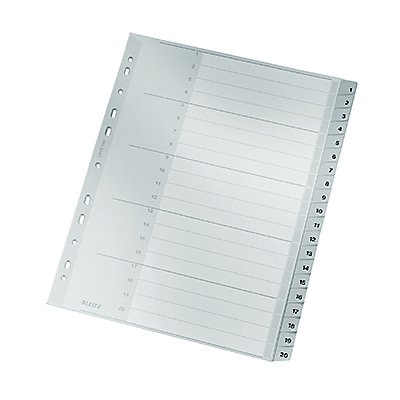 Leitz Register 12840000 1-20 DIN A4 volle Höhe 20teilig PP grau