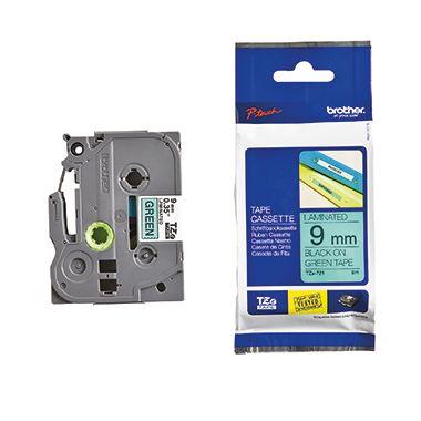 P-touch Schriftbandkassette TZE721 9mmx8m laminiert sw auf gn