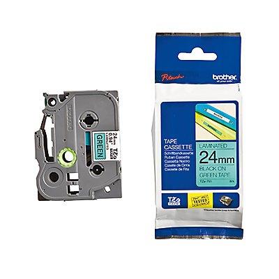 P-touch Schriftbandkassette TZE751 24mmx8m laminiert sw auf gn