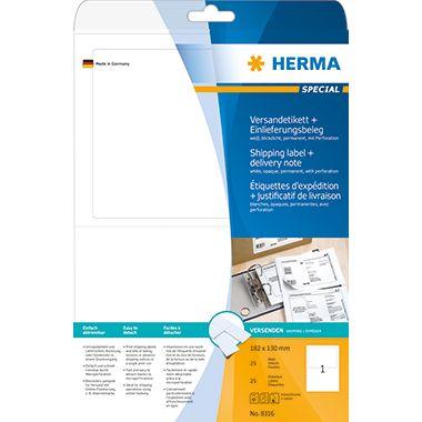 HERMA Versandetikett 8316 182x130mm weiß 25 St./Pack.