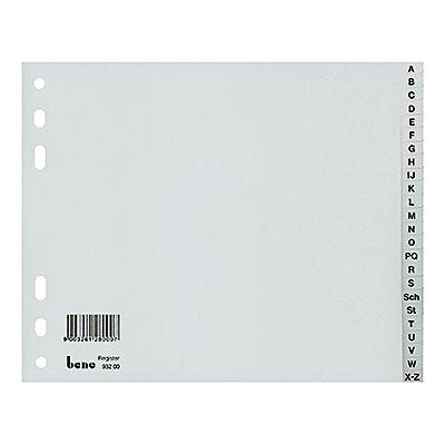 Bene Register 93200 A-Z DIN A4 halbe Höhe 24teilig Kunststoff grau