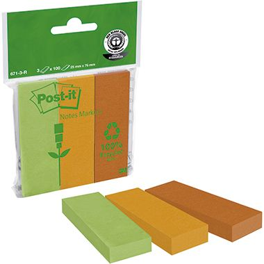 Post-it Haftstreifen Page Marker Recycling 671-3R sort. 3 St./Pack.