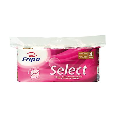 fripa Toilettenpapier Select 1040801 4-lagig weiß 8 Rl./Pack.
