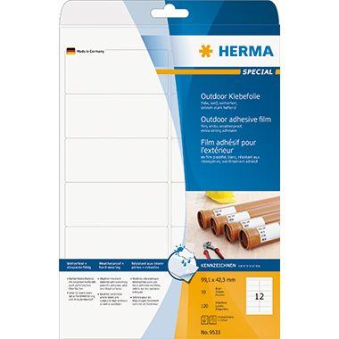 HERMA Folienetikett 9533 99,1x42,3mm weiß 120 St./Pack.
