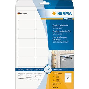 HERMA Outdoor Etikett Special 9532 63,5x33,9mm weiß 240 St./Pack.