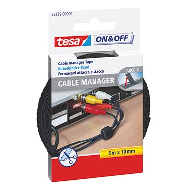 tesa Klettband On & Off 55239-00000 1x500cm schwarz