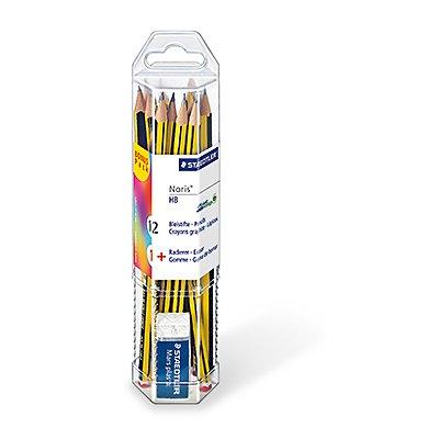 STAEDTLER Bleistift Noris 61 120 P1 HB ge/sw 12 St./Pack. +Radierer