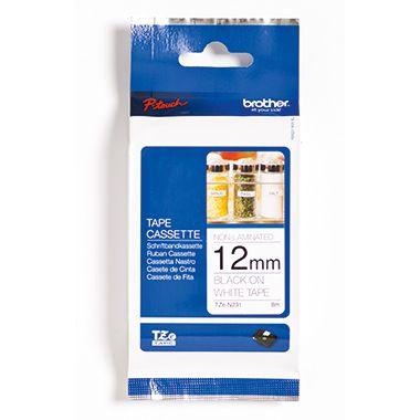 P-touch Schriftbandkassette TZEN231 12mmx8m unlaminiert sw auf ws