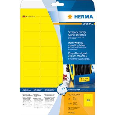 HERMA Folienetikett 8030 45,7x21,2mm gelb 1.200 St./Pack.