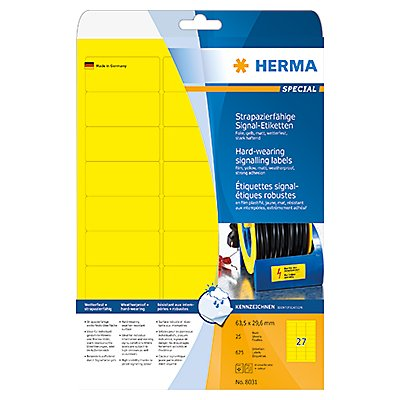 HERMA Folienetikett 8031 63,5x29,6mm gelb 675 St./Pack.