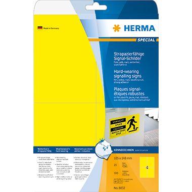HERMA Folienetikett 8032 105x148mm gelb 100 St./Pack.
