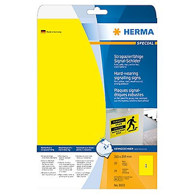 HERMA Folienetikett 8033 210x297mm gelb 25 St./Pack.