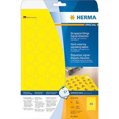 HERMA Folienetikett 8034 30mm rund gelb 1.200 St./Pack.